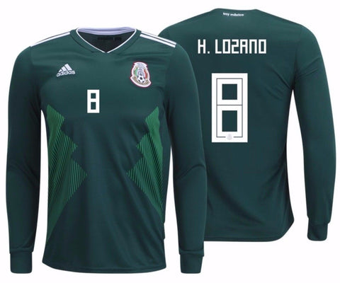 ADIDAS HIRVING LOZANO MEXICO LONG SLEEVE HOME JERSEY FIFA WORLD CUP 2018.