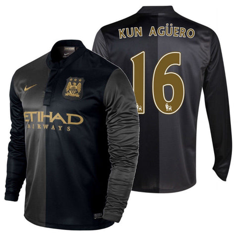 NIKE SERGIO KUN AGUERO MANCHESTER CITY LONG SLEEVE AWAY JERSEY 2013/14