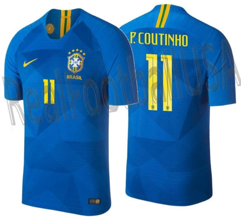 NIKE PHILIPPE COUTINHO BRAZIL VAPOR MATCH AWAY JERSEY FIFA WORLD CUP 2018 1