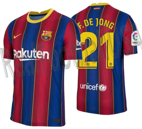 NIKE FRENKIE DE JONG FC BARCELONA AUTHENTIC VAPOR MATCH HOME JERSEY 2020/21 1