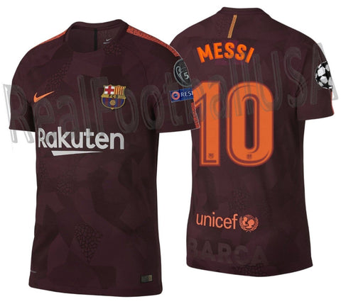 NIKE LIONEL MESSI FC BARCELONA UEFA CHAMPIONS LEAGUE VAPOR MATCH THIRD JERSEY 2017/18 1