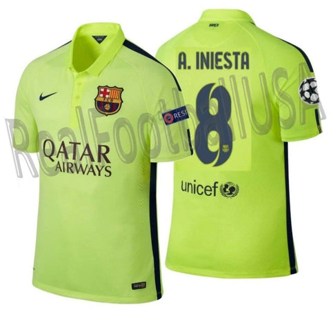 NIKE ANDRES INIESTA FC BARCELONA UEFA CHAMPIONS LEAGUE AUTHENTIC MATCH THIRD JERSEY 2014/15 1