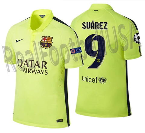 NIKE LUIS SUAREZ FC BARCELONA UEFA CHAMPIONS LEAGUE AUTHENTIC THIRD MATCH JERSEY 2014/15 1