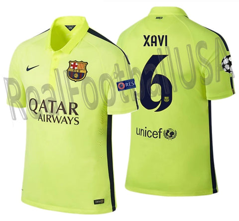 NIKE XAVI FC BARCELONA CHAMPIONS LEAGUE AUTHENTIC THIRD MATCH JERSEY 2014/15 1