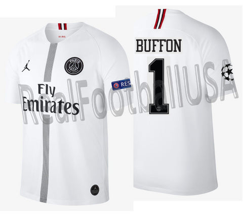 JORDAN GIANLUIGI BUFFON PSG PARIS SAINT-GERMAIN UEFA CHAMPIONS LEAGUE AWAY JERSEY 2018/19.