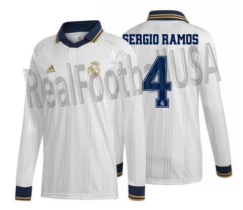 ADIDAS SERGIO RAMOS REAL MADRID ICONS LONG SLEEVE T-SHIRT RETRO JERSEY 2019/20