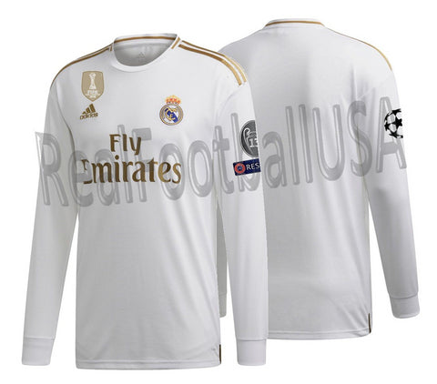 the latest 776b9 1b087 ADIDAS REAL MADRID LONG SLEEVE UEFA CHAMPIONS LEAGUE HOME JERSEY 2019/20.