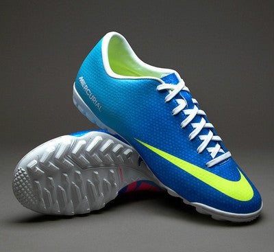 NIKE MERCURIAL VICTORY IV TF INDOOR SOCCER TURF FUTSAL CR7 SHOES NEPTUNE BLUE.