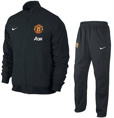 NIKE MANCHESTER UNITED SQUAD SIDELINE WOVEN WARM UP TRACKSUIT Black/White.