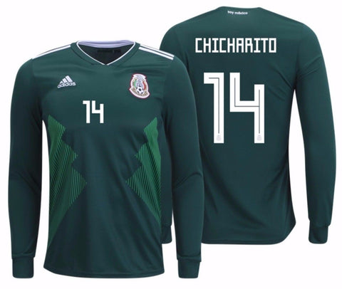 Adidas Chicharito Mexico Long Sleeve Home Jersey 2018 BQ4700
