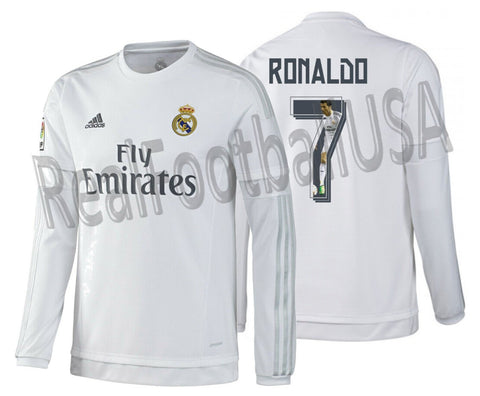 ADIDAS CRISTIANO RONALDO STYLE REAL MADRID LONG SLEEVE HOME JERSEY 2015/16 1