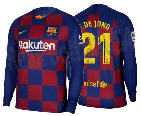 NIKE FRENKIE DE JONG FC BARCELONA LONG SLEEVE HOME JERSEY 2019/20 1