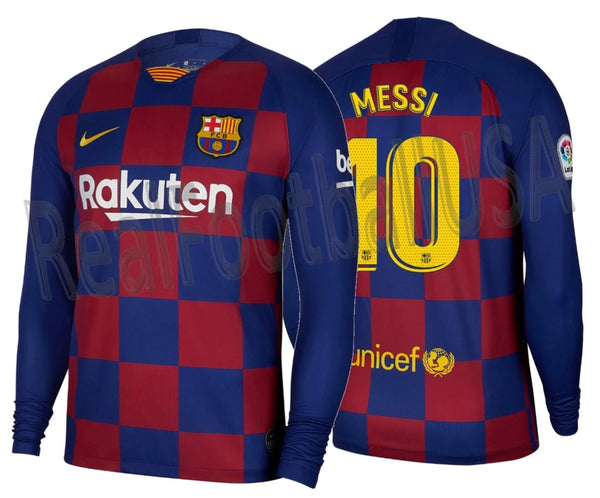 nike lionel messi fc barcelona long sleeve home jersey 2019 20 realfootballusa net realfootballusa net