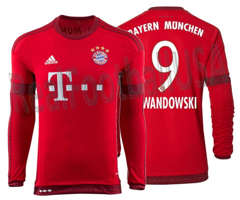 ADIDAS ROBERT LEWANDOWSKI BAYERN MUNICH LONG SLEEVE HOME JERSEY 2015/16.