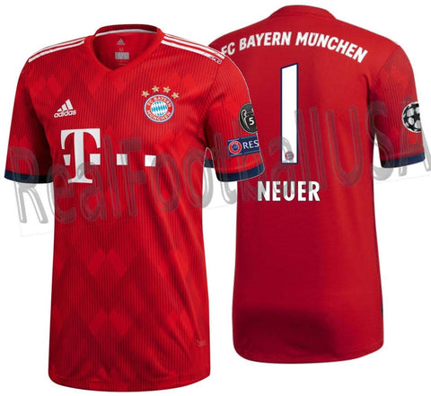 ADIDAS MANUEL NEUER BAYERN MUNICH AUTHENTIC MATCH UEFA CHAMPIONS LEAGUE HOME JERSEY 2018/19.