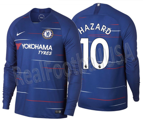 Nike Hazard Chelsea Long Sleeve Home Jersey 2018/19 AA8057-496