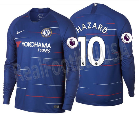 the latest 62721 9849d NIKE EDEN HAZARD CHELSEA FC LONG SLEEVE HOME JERSEY 2018/19.