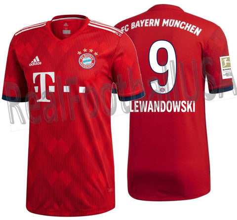 ADIDAS ROBERT LEWANDOWSKI BAYERN MUNICH AUTHENTIC MATCH HOME JERSEY 2018/19 BUNDESLIGA PATCH.