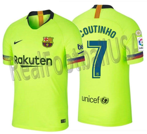 NIKE PHILIPPE COUTINHO FC BARCELONA AUTHENTIC VAPOR MATCH AWAY JERSEY 2018/19 PATCHES..