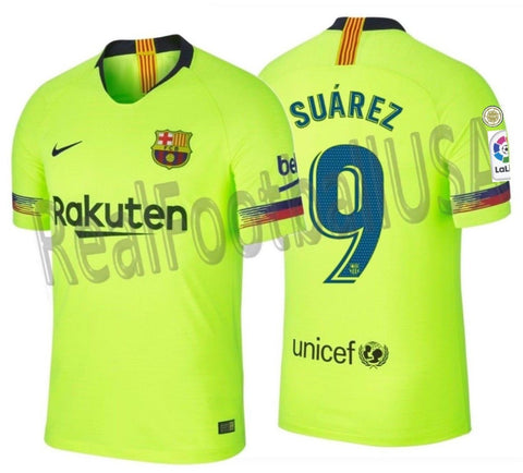 NIKE LUIS SUAREZ FC BARCELONA AUTHENTIC VAPOR MATCH AWAY JERSEY 2018/19 PATCHES.
