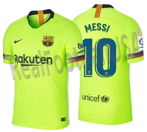 NIKE LIONEL MESSI FC BARCELONA AUTHENTIC VAPOR MATCH AWAY JERSEY 2018/19 PATCHES