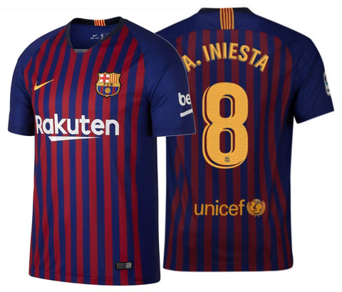 NIKE ANDRES INIESTA FC BARCELONA HOME JERSEY 2018/19.