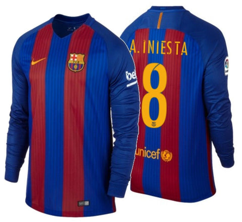 NIKE ANDRES INIESTA FC BARCELONA LONG SLEEVE HOME JERSEY 2016/17.