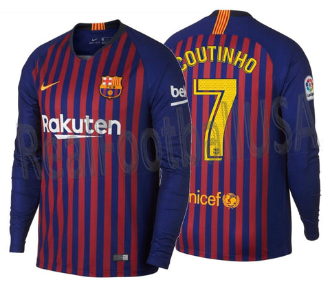 NIKE PHILIPPE COUTINHO FC BARCELONA LONG SLEEVE HOME JERSEY 2018/19
