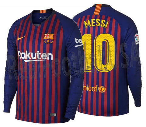 NIKE LIONEL MESSI FC BARCELONA LONG SLEEVE HOME JERSEY 2018/19