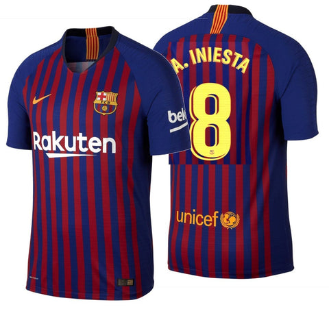 NIKE ANDRES INIESTA FC BARCELONA AUTHENTIC VAPOR MATCH HOME JERSEY 2018/19.