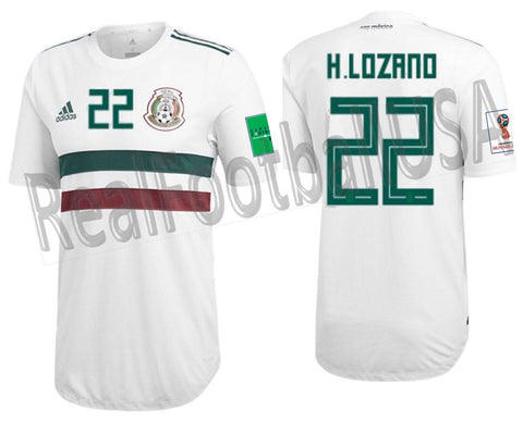 separation shoes bd13a bd45e ADIDAS HIRVING LOZANO MEXICO AUTHENTIC MATCH AWAY JERSEY WORLD CUP 2018  PATCHES.