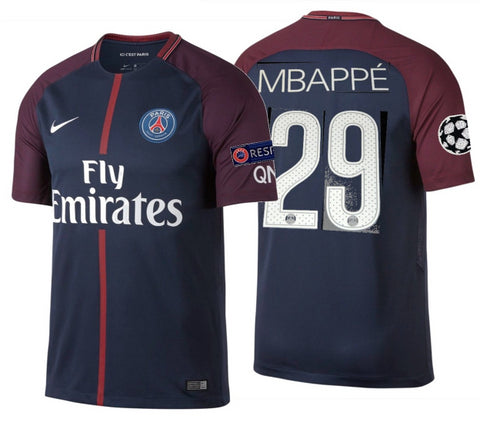 NIKE KYLIAN MBAPPE PARIS SAINT-GERMAIN PSG UEFA CHAMPIONS LEAGUE HOME JERSEY 2017/18.