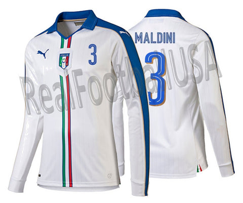 PUMA PAOLO MALDINI ITALY LONG SLEEVE AWAY JERSEY 2015/16.