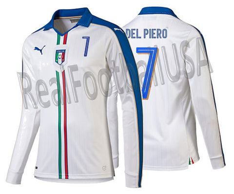 PUMA ALESSANDRO DEL PIERO ITALY LONG SLEEVE AWAY JERSEY 2015/16.