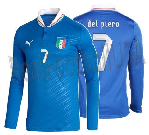 PUMA ALESSANDRO DEL PIERO ITALY PLAYER ISSUE LONG SLEEVE HOME JERSEY EURO 2012.