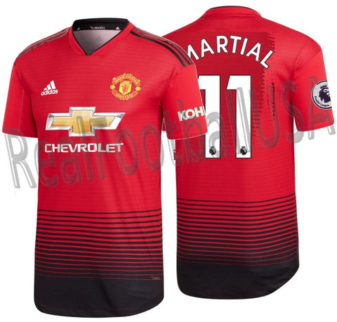ADIDAS ANTHONY MARTIAL MANCHESTER UNITED AUTHENTIC MATCH HOME JERSEY 2018/19 EPL KOHLER PATCHES.