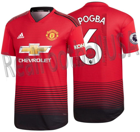 ADIDAS PAUL POGBA MANCHESTER UNITED AUTHENTIC MATCH HOME JERSEY 2018/19 EPL KOHLER PATCHES.