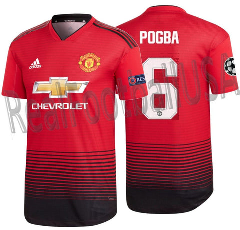 6e56a8f42 ADIDAS PAUL POGBA MANCHESTER UNITED AUTHENTIC MATCH UEFA CHAMPIONS LEAGUE HOME  JERSEY 2018 19.