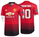 ADIDAS MARCUS RASHFORD MANCHESTER UNITED AUTHENTIC MATCH UEFA CHAMPIONS LEAGUE HOME JERSEY 2018/19.