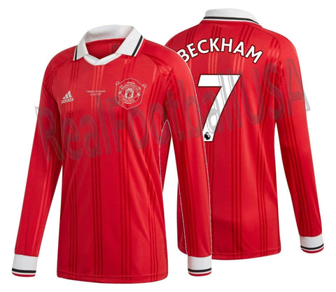 ADIDAS DAVID BECKHAM MANCHESTER UNITED ICONS LONG SLEEVE T-SHIRT RETRO JERSEY 2019/20