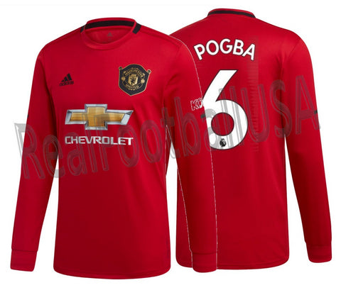 ADIDAS PAUL POGBA MANCHESTER UNITED LONG SLEEVE HOME JERSEY 2019/20.