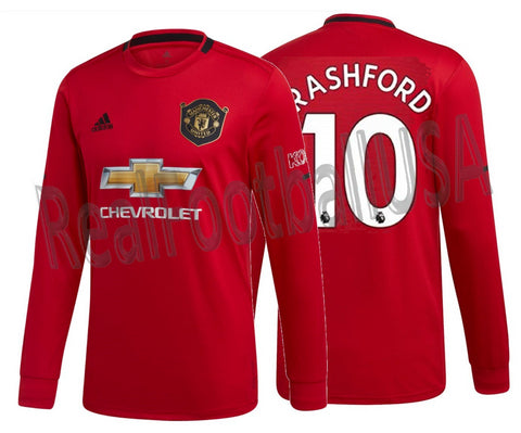 ADIDAS MARCUS RASHFORD MANCHESTER UNITED LONG SLEEVE HOME JERSEY 2019/20.