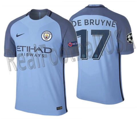 NIKE KEVIN DE BRUYNE MANCHESTER CITY UEFA CHAMPIONS LEAGUE AUTHENTIC VAPOR MATCH HOME JERSEY 2016/17 1