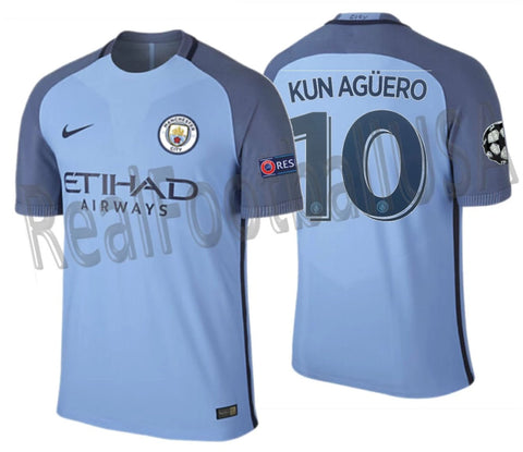 NIKE SERGIO KUN AGUERO MANCHESTER CITY UEFA CHAMPIONS LEAGUE AUTHENTIC VAPOR MATCH HOME JERSEY 2016/17 1