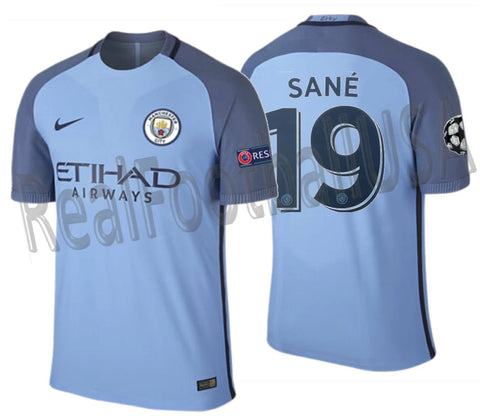 NIKE LEROY SANE MANCHESTER CITY UEFA CHAMPIONS LEAGUE AUTHENTIC VAPOR MATCH HOME JERSEY 2016/17 1