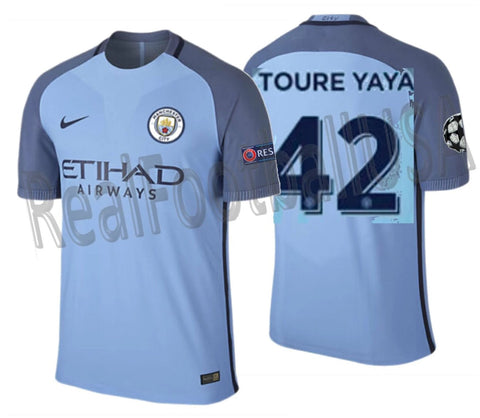 NIKE TOURE YAYA MANCHESTER CITY UEFA CHAMPIONS LEAGUE AUTHENTIC VAPOR MATCH  HOME JERSEY 2016/17 1