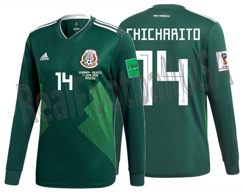 Adidas Chicharito Mexico Long Sleeve Home Jersey 2018 Match Detail BQ4700