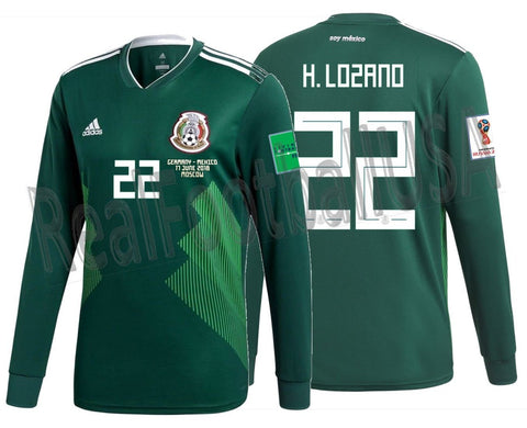 Adidas Hirving Lozano Mexico Long Sleeve Home Jersey 2018 Match Detail BQ4700