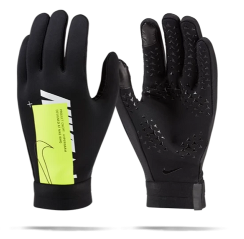 NIKE HYPERWARM ACADEMY FIELD PLAYER SOCCER GLOVES Black/Volt 4