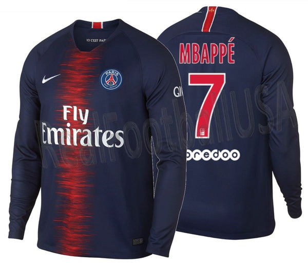 new style db44d 71e81 NIKE KYLIAN MBAPPE PARIS SAINT-GERMAIN PSG LONG SLEEVE HOME JERSEY 2018/19.